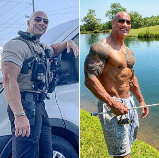 Dwayne The Rock, right and his lookalike cop Eric Fields