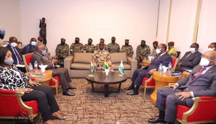 ECOWAS leaders, Akufo-Addo, 2nd left and Ouattara, second right with Mamady Doumbouya, centre on Friday