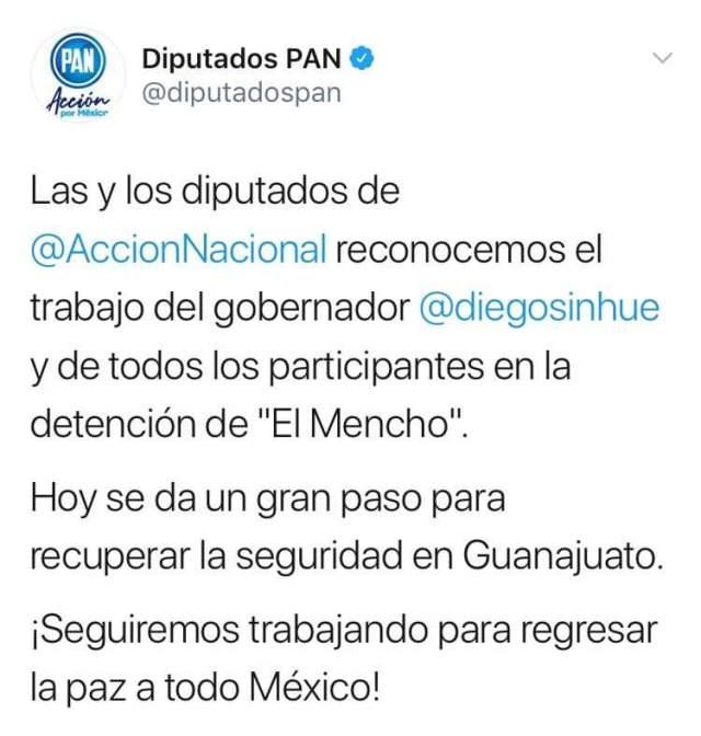 Captura de la cuenta de Twitter de diputados del PAN