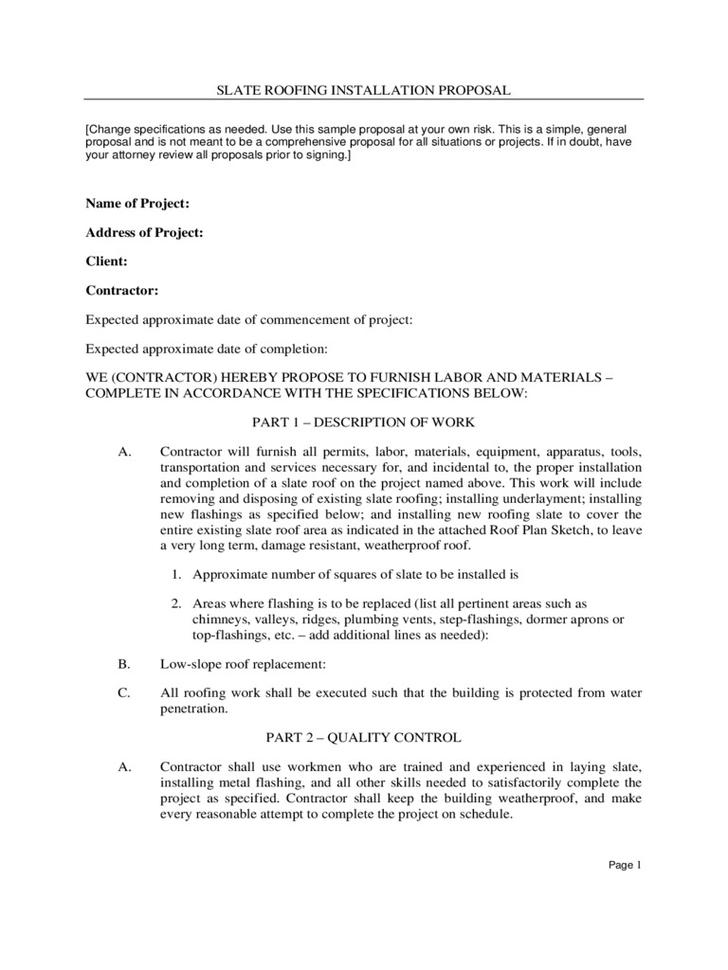 Roofing Contract Form - Template Examples