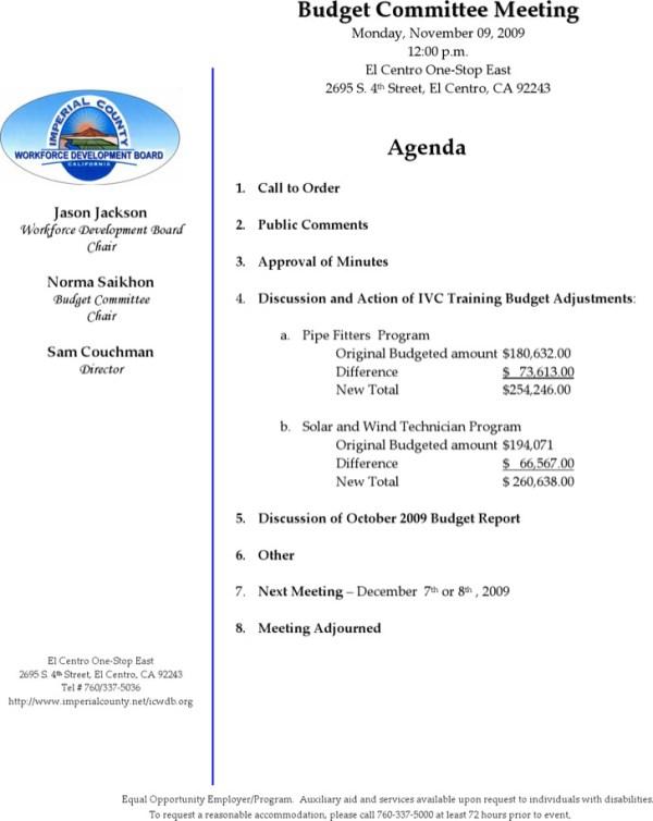 Budget Meeting Agenda Templates | Download Free & Premium ...