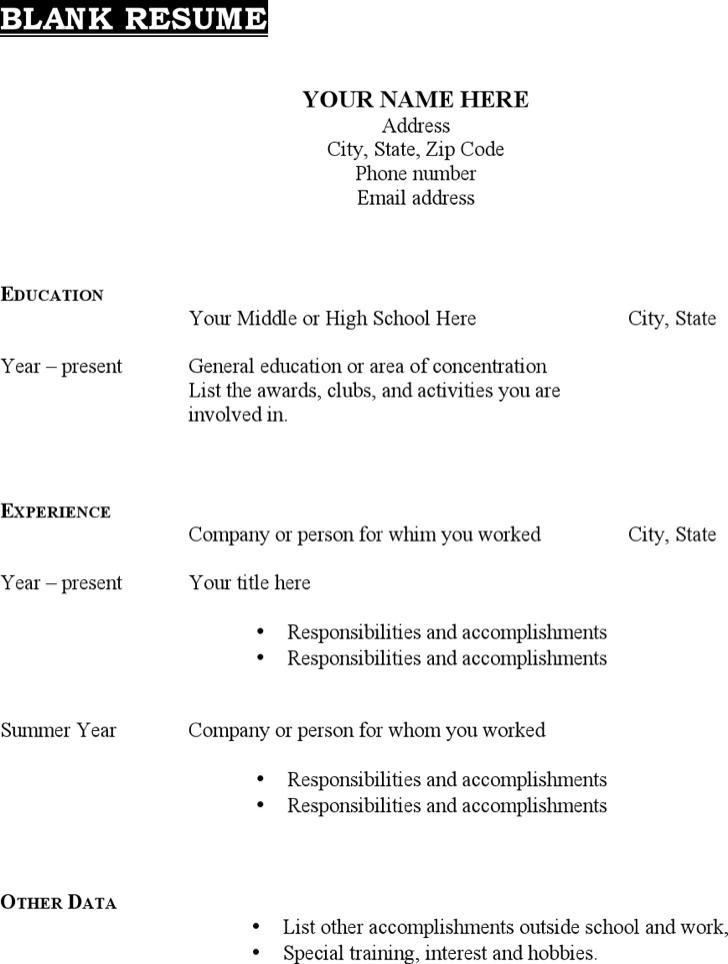 Printable Blank Resume Resume Sample