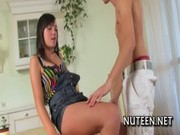 Cute teen beauty rides dick of man