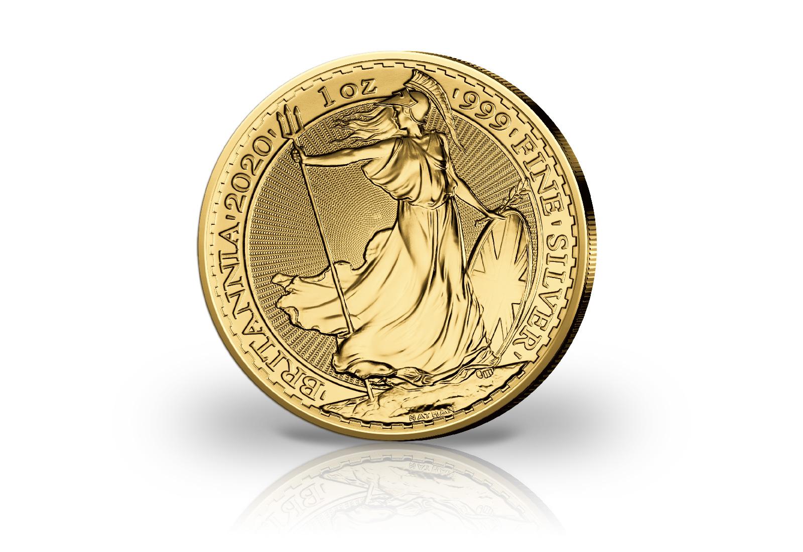 Britannia 1oz Silber 2020 Großbritannien mit 24 Karat Gold