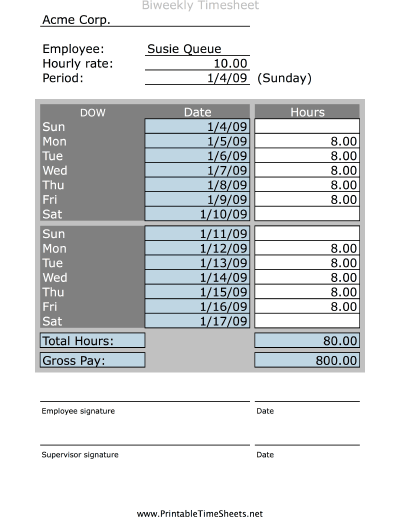 This information can be used to calculate pay and to determine how much time employees spend on certain projects or tasks. Simple Biweekly Timesheet Printable Time Sheet