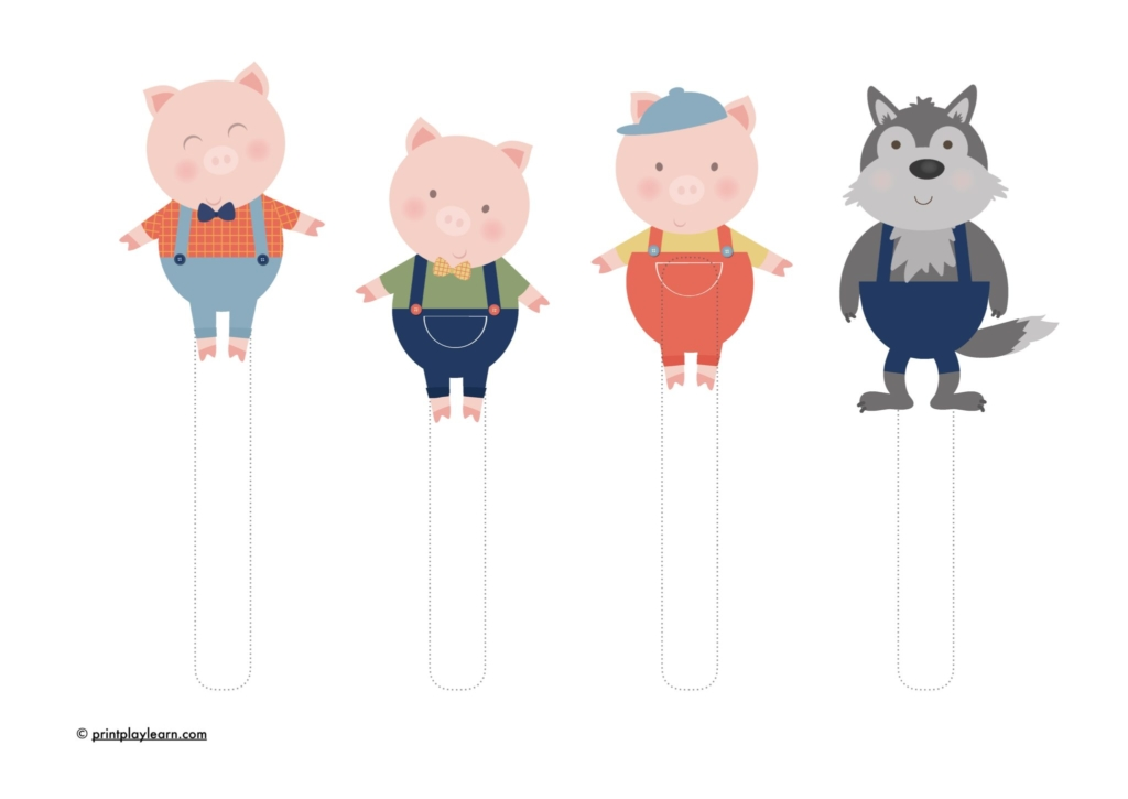 Three Little Pig Puppets Free Teaching Resources Print