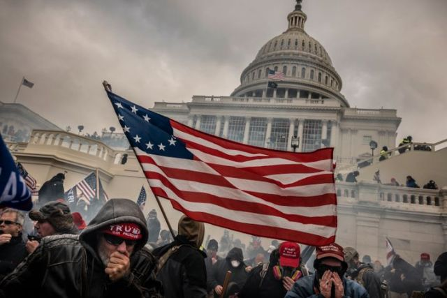 Protesters during the storming of the Capitol Building on Jan. 6