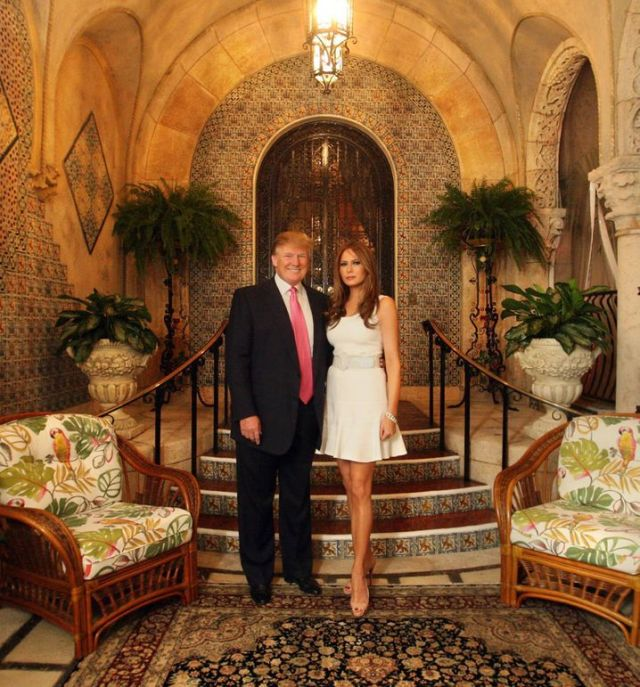 Trump and his wife Melania at Mar-a-Lago in 2016