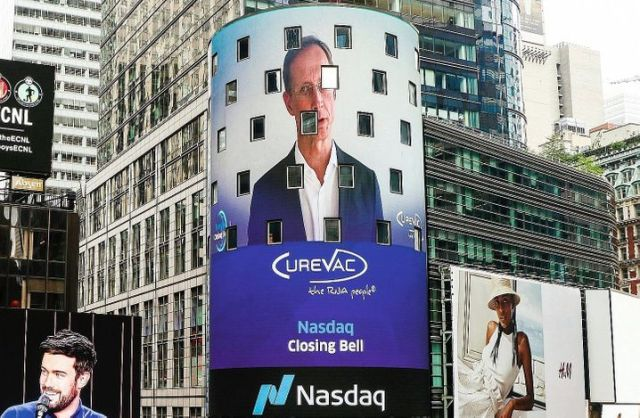 "Curevac CEO Werner Haas (on NASDAQ's video facade on the day of the company's IPO on Aug. 14 in New York): ""That was a very difficult time for us and our employees."""