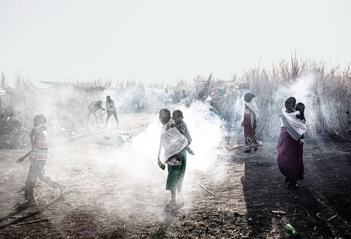 Refugees near the Ethiopian border