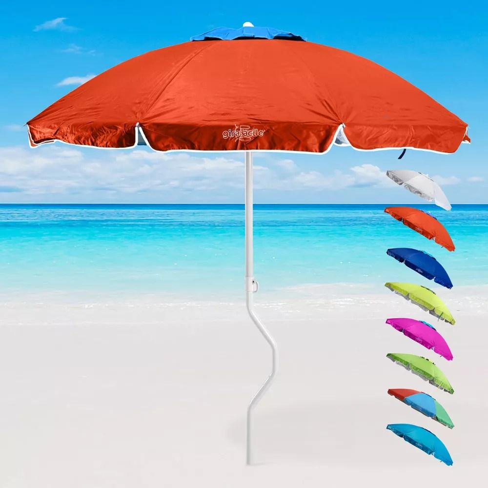 Diametro maxi da 2,2 metri, stecche in fiberglass maggiorate antivento, tessuto. Ermes Girafacile Patented Vented Beach Umbrella With Upf 158 Uv Protection