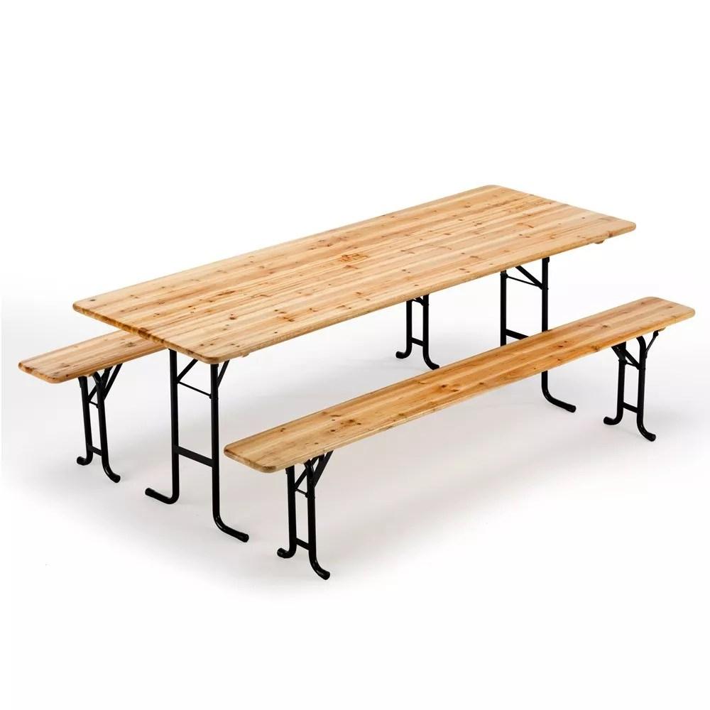 table de brasserie bancs en bois jardin pliant festival 220x80