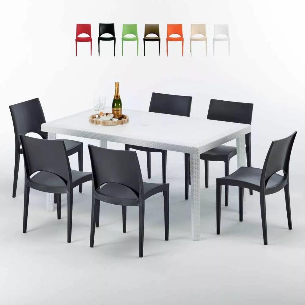 table rectangulaire blanche 150x90 6 chaises exterieur paris summerlife
