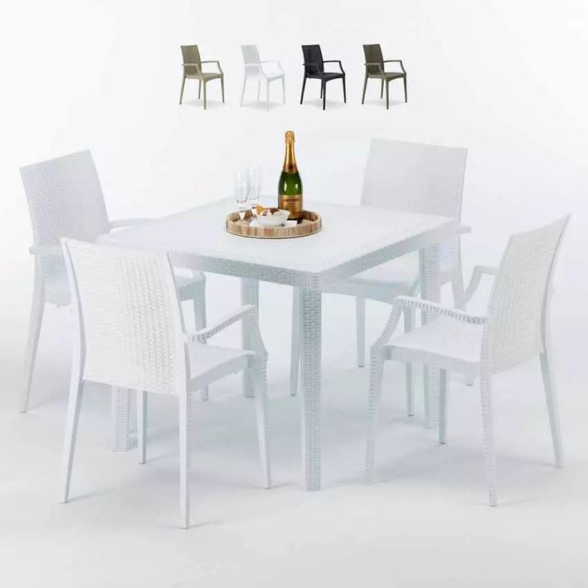 table carree blanche 90x90 cm 4 chaises exterieur bar arm bistrot love