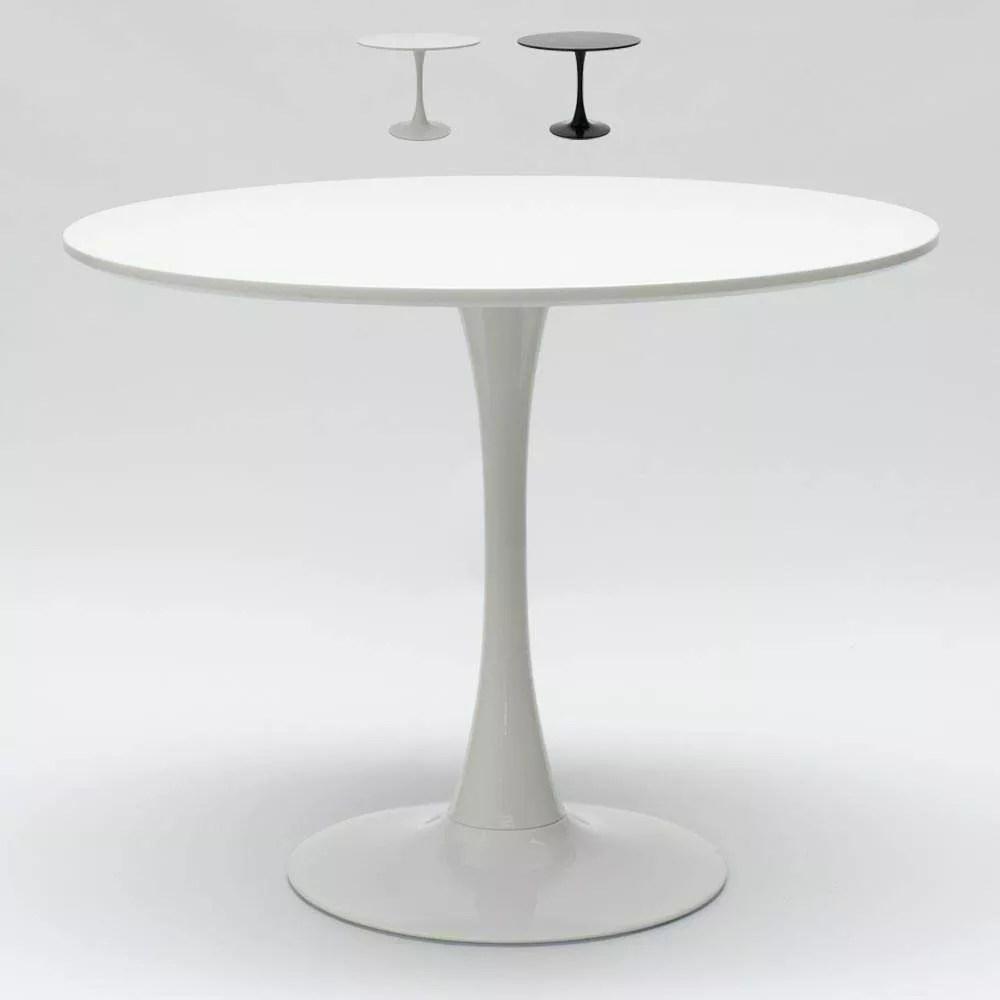 table ronde couleur noire et blanche pour bar salon maison 80x80 tulip