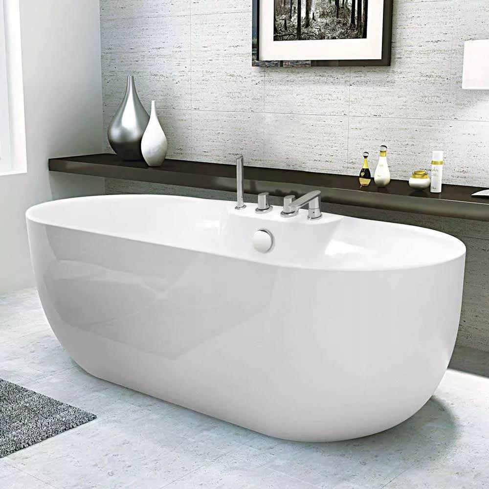 baignoire ilot independante acrylique resine fiberglass design elegant atmosphere