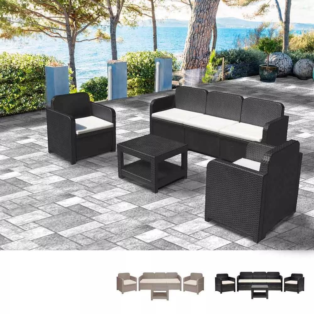 salon de jardin exterieur en poly rotin table basse fauteuils 5 places