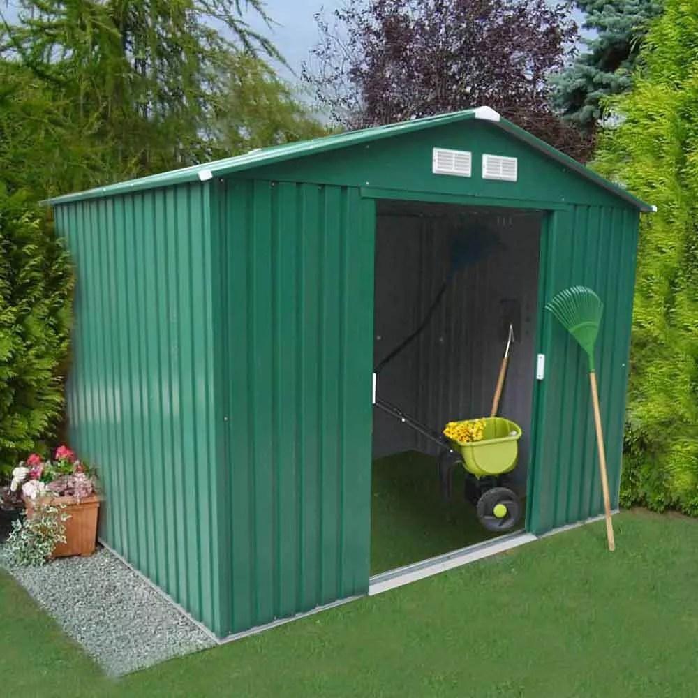 abri de jardin box metal vert rangement outils cabane metal galvanise 257x184 cm large