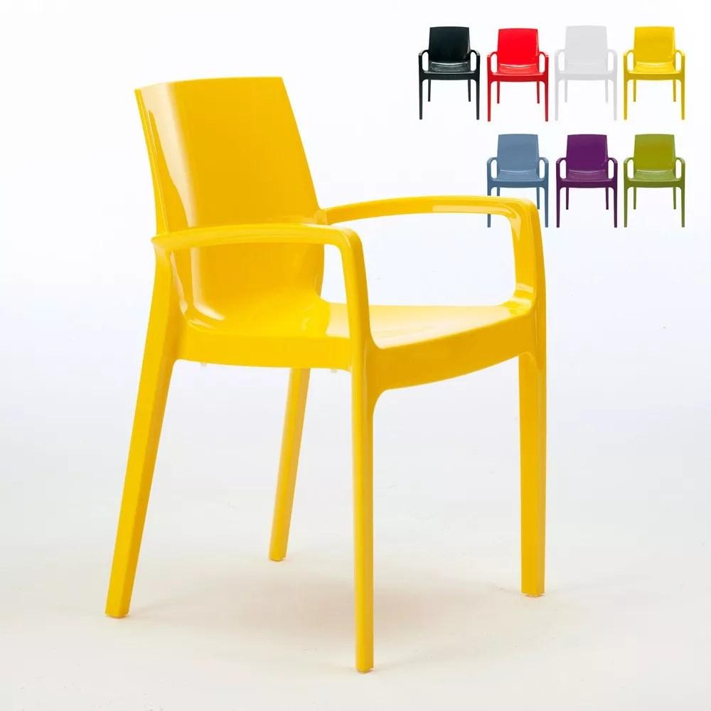 chaise empilable en polypropylene avec accoudoirs cream grand soleil