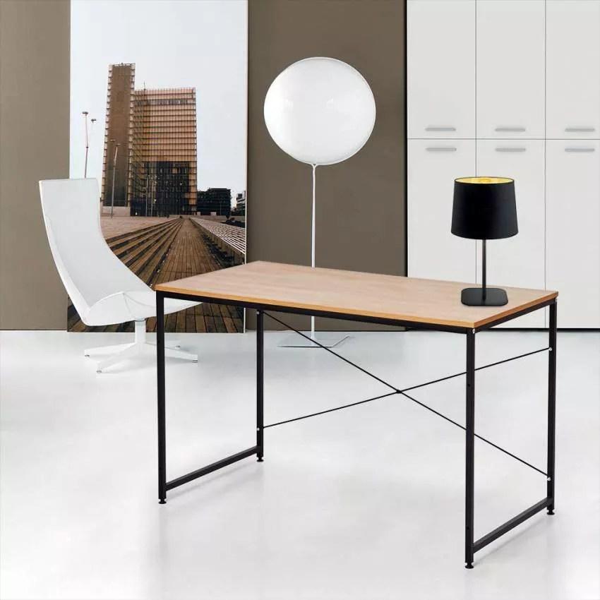 wootop bureau industriel 150 x 60 au design minimaliste bois et acier