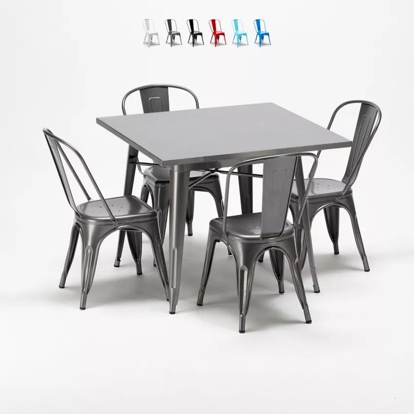 flushing table et chaises en metal au style industriel tolix