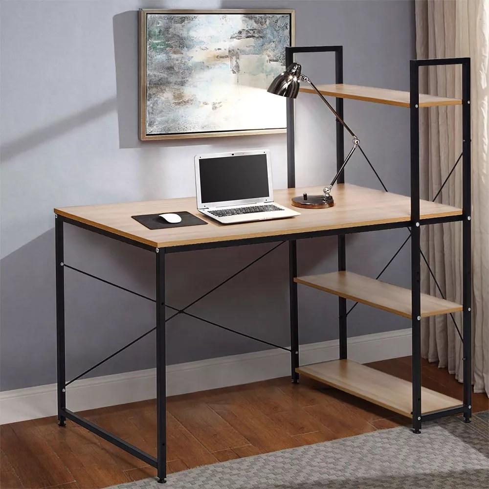 bureau industriel 120x60 en bois et acier avec bibliotheque et etageres design minimaliste empire