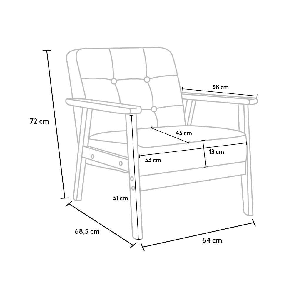 hage fauteuil en bois design scandinave vintage retro avec accoudoirs