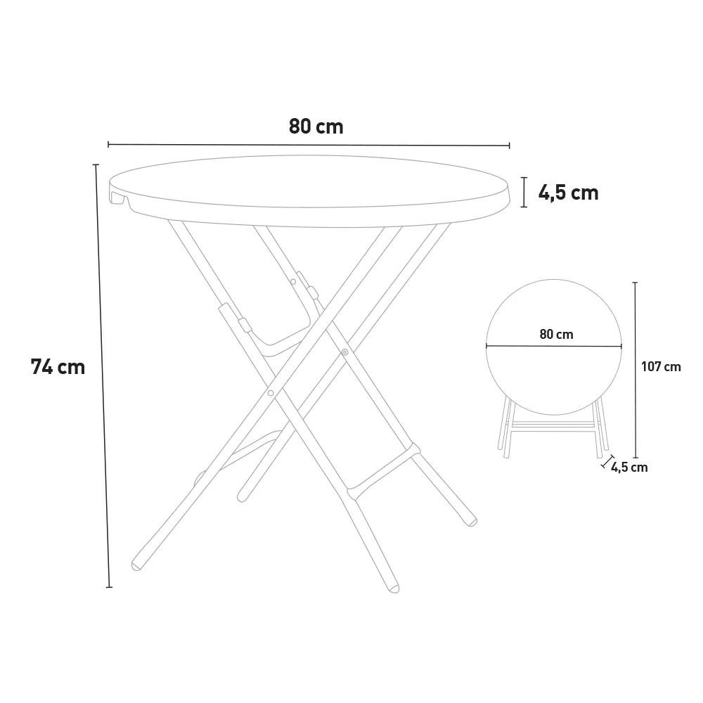 table pliante de jardin et camping 80x74 cm arthur