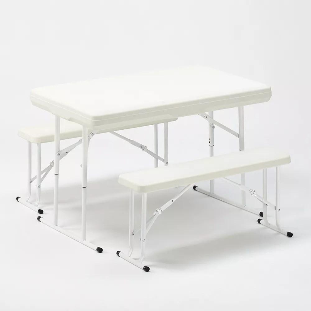 picnic set brasserie table pliante et bancs plastique jardin 113x68x74