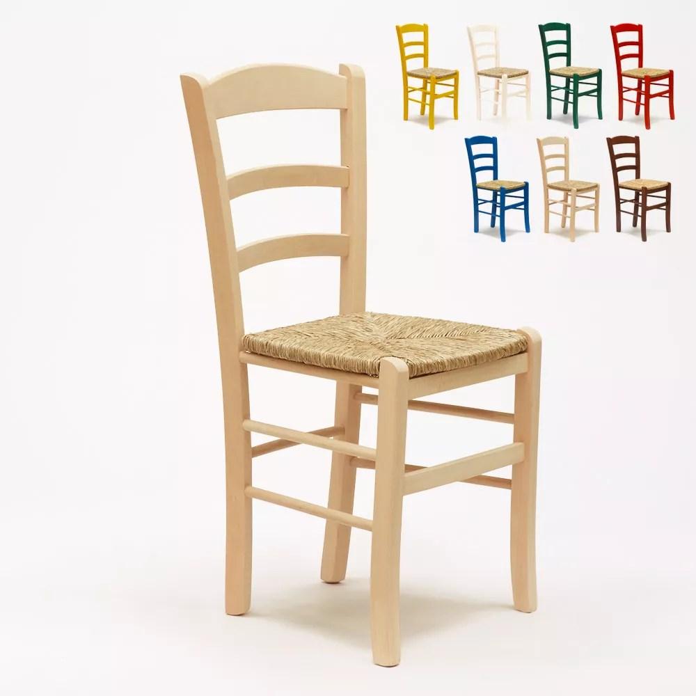 lot de 20 chaises au design vintage en bois et assise en paille paesana