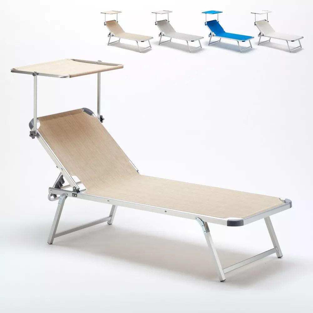 bain de soleil pour plage et piscine avec son parasol reglable nettuno