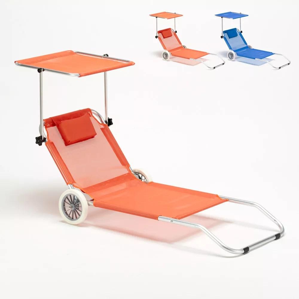 lit de plage transat et bain de soleil en aluminium pliant avec roues