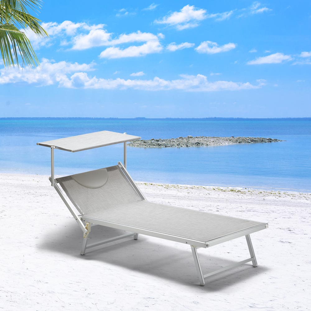 details sur 2 bain de soleil xxl professionnels piscine transat aluminium italia