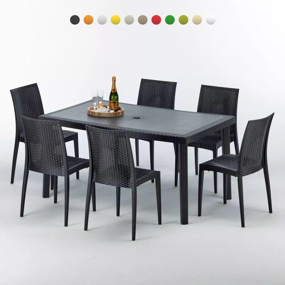 table rectangulaire et 6 chaises poly rotin colorees 150x90cm noir enjoy