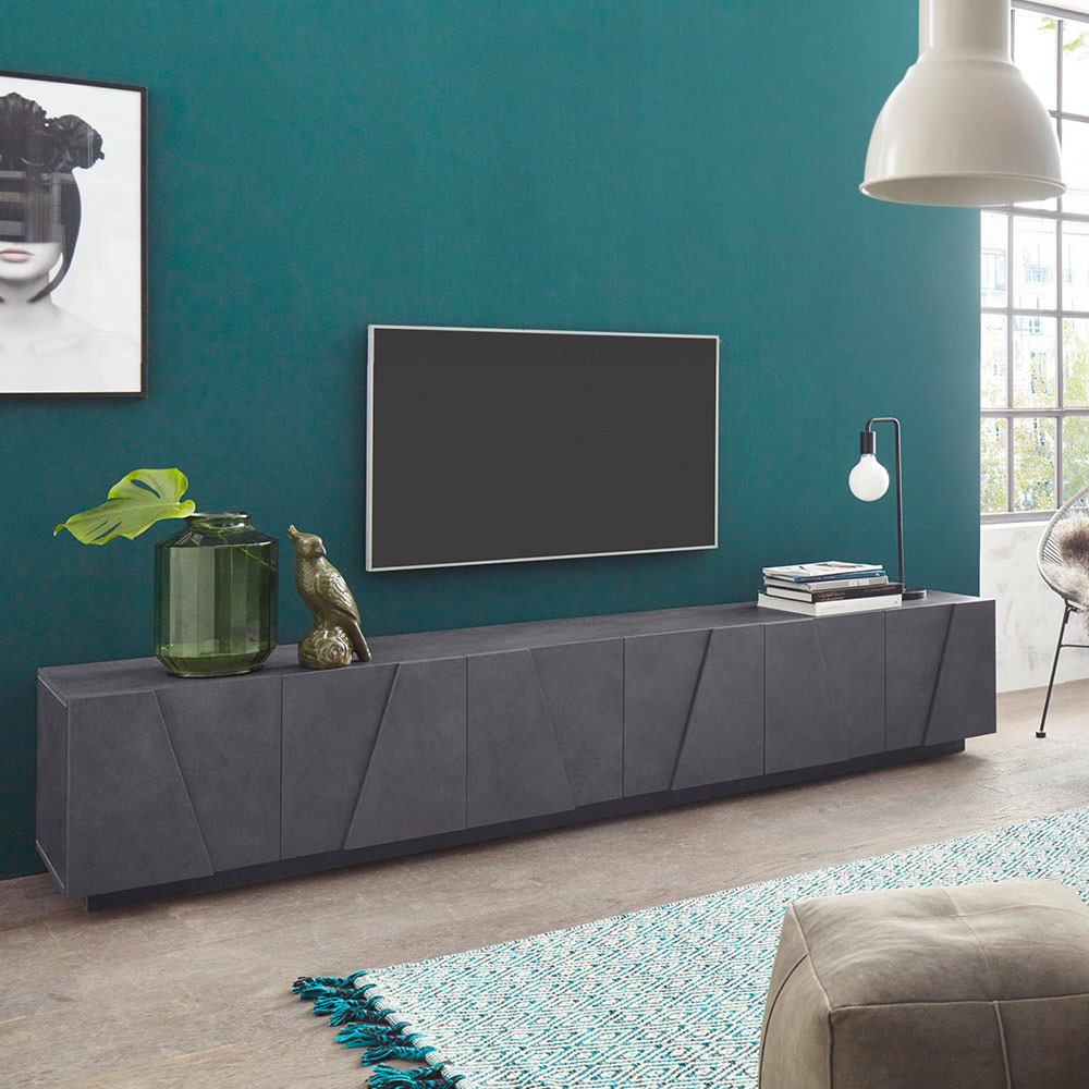 Scopri subito migliaia di annunci di privati e aziende. Ping Low Xl Ardesia Mobile Porta Tv Soggiorno Design Moderno 6 Ante 3 Vani