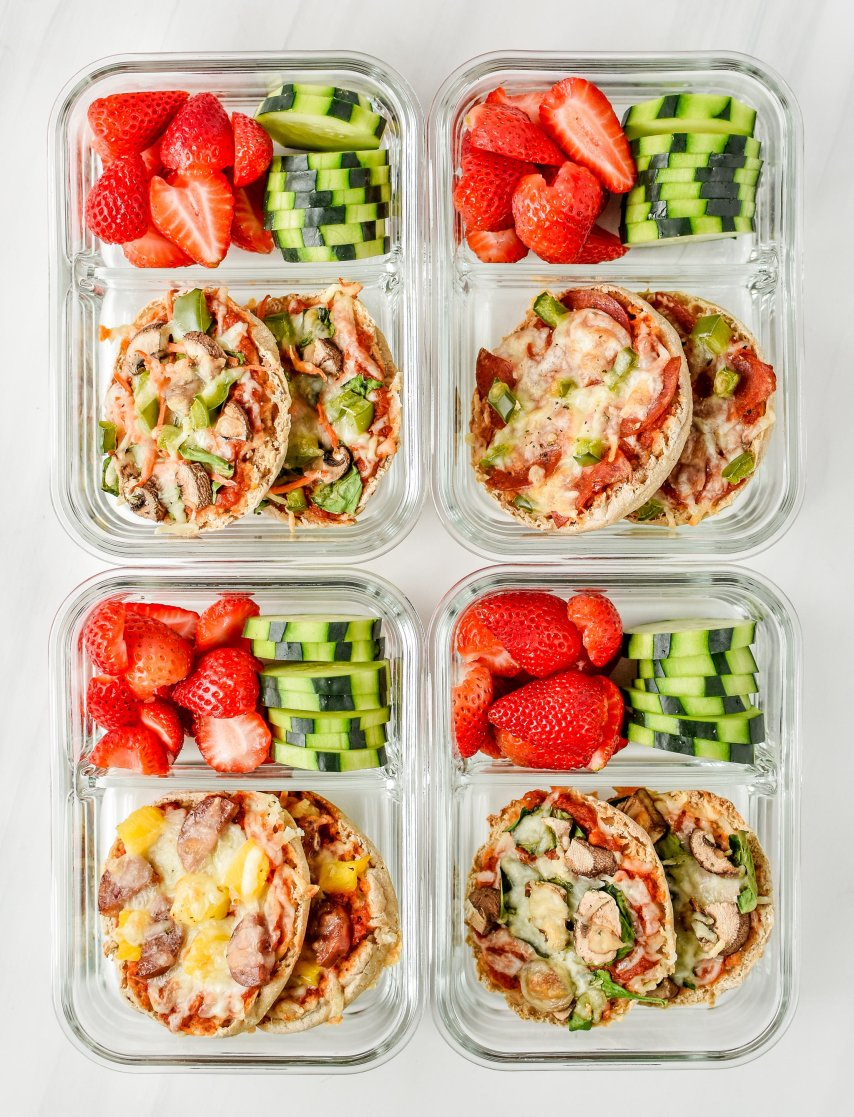 English muffin pizza meal prep