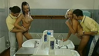 Two teens get fucked in the bathroom by two guys Preview Image