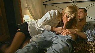 Blonde step-mom in stockings seducing son Preview Image