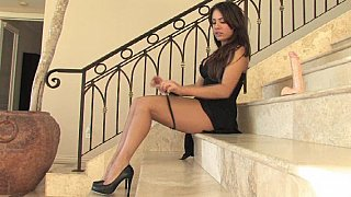 Babe in dress spreading & dildoing Preview Image