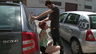 Redhead Euro girl gets fucked hard in public Preview Image