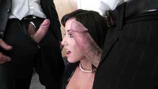Jennifer White does an amazing double blowjob Preview Image