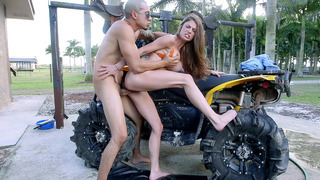 Dillion Carter bents over the four-wheeler and takes deep pussy penetration Preview Image
