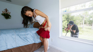 Ebony teen gets a revenge on voyeur Preview Image