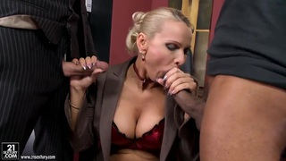 Blonde milf gets fucked by white and black guys Preview Image