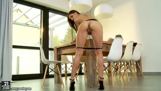 Young porn star Henessy dirty strips and sucks in front of the camera Preview Image