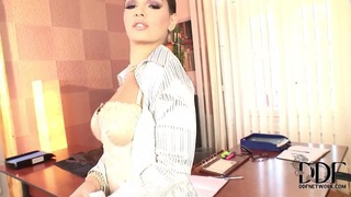 Passionate and sexy brunette whore Eve Angel plays with her pussy Preview Image