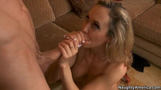 Hot lady Brandi Love with giant fake tits is giving her twat for fuck to_Jordan_Ash in doggy pose on the couch. Preview Image