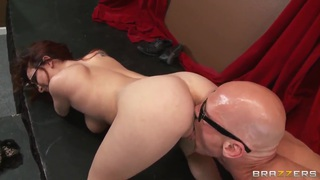 Cute ginger chick in sexy glasses Ashley Graham is pleasing her fucker Johnny Sins with hot tit and deep blow jobs. Preview Image