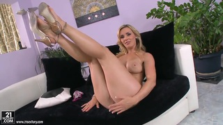 Curvy blonde milf Tanya Tate teases in_living room Preview Image