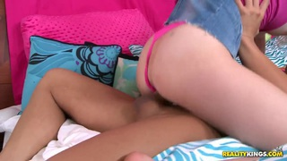 Tiny teen Tiffany Fox_enjoys a huge fat cock! Preview Image